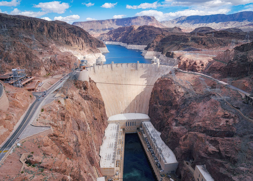 Hoover Dam. Cloudy Hoover Dam Road Utah Colorado River Electricity  High Angle View Hydroelectric Power Lake Mead Landscape Landscapes Mountain Range Nevada Rocky Mountains