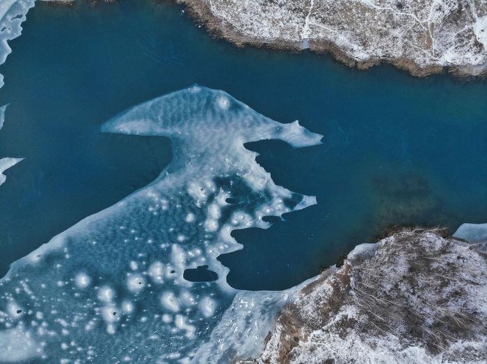 Aerial of frozen sea