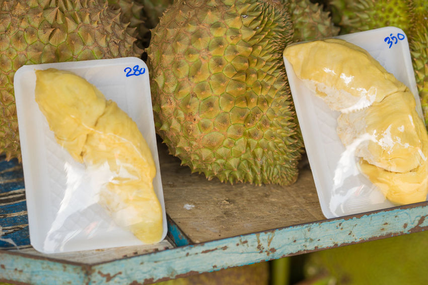 Durian Durians Bag Close-up Day Durian Fruit Durians Shop Food Food And Drink For Sale Freshness Healthy Eating High Angle View Market No People Outdoors Ready-to-eat Retail
