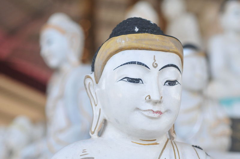 Close-up of buddha statue against temple