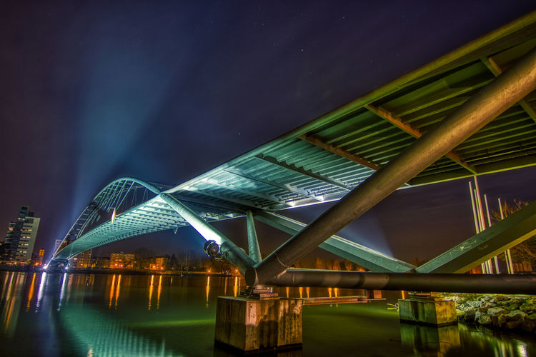 Brücke Dreiländerbrücke Nacht HDR Hdr_Collection Hdrphotography Lichter Rhein Rheinufer Wasser Reflection Reflections In The Water Sky Bridge No People Connection Nature Architecture Illuminated Water Outdoors Reflection Lake Night Travel Destinations