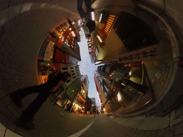 銀座裏道写ん歩。 Theta360 Theta Streetphotography City Life City Street City Lights Super Wide Angle 広角機動隊 EyeEm Best Shots - The Streets EyeEm Best Shots Taking Photos Snapshot Walking Around お写ん歩 City Full Length Illuminated Cityscape Architecture