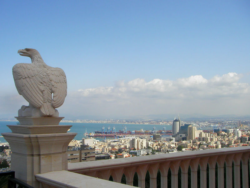 Eagle viewing over the city of Haifa, Israel Baha'i Bahai Gardens Bird Sculpture Cityscape Eagle Haifa Haifa Israel Architecture Bahai Building Exterior Built Structure City City View  Cityscape Day Israel No People Outdoors Sculpture Sky Statue