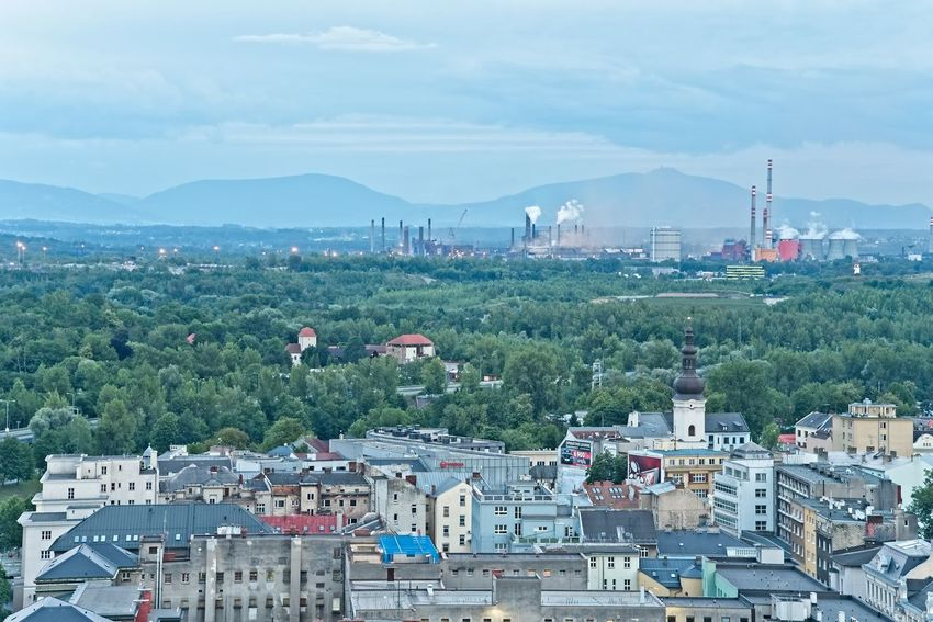 Ostrava city from town hall tower in the evening. Orange Architecture Built Structure City City Lights Cityscape Environment Evening High Angle View Industry Lamps Mountain Ostrava Outdoors Plant Polution Sky Steelwork TOWNSCAPE