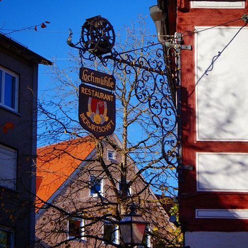 Beautiful Architecture . Zur Lochmühle restaurant sign. At the OldTown center. ulm Baden Württemberg, Germany Deutschland. Taken by my SonyAlpha dslr a57. رحلة تصميم معمار شعار اولم المانيا