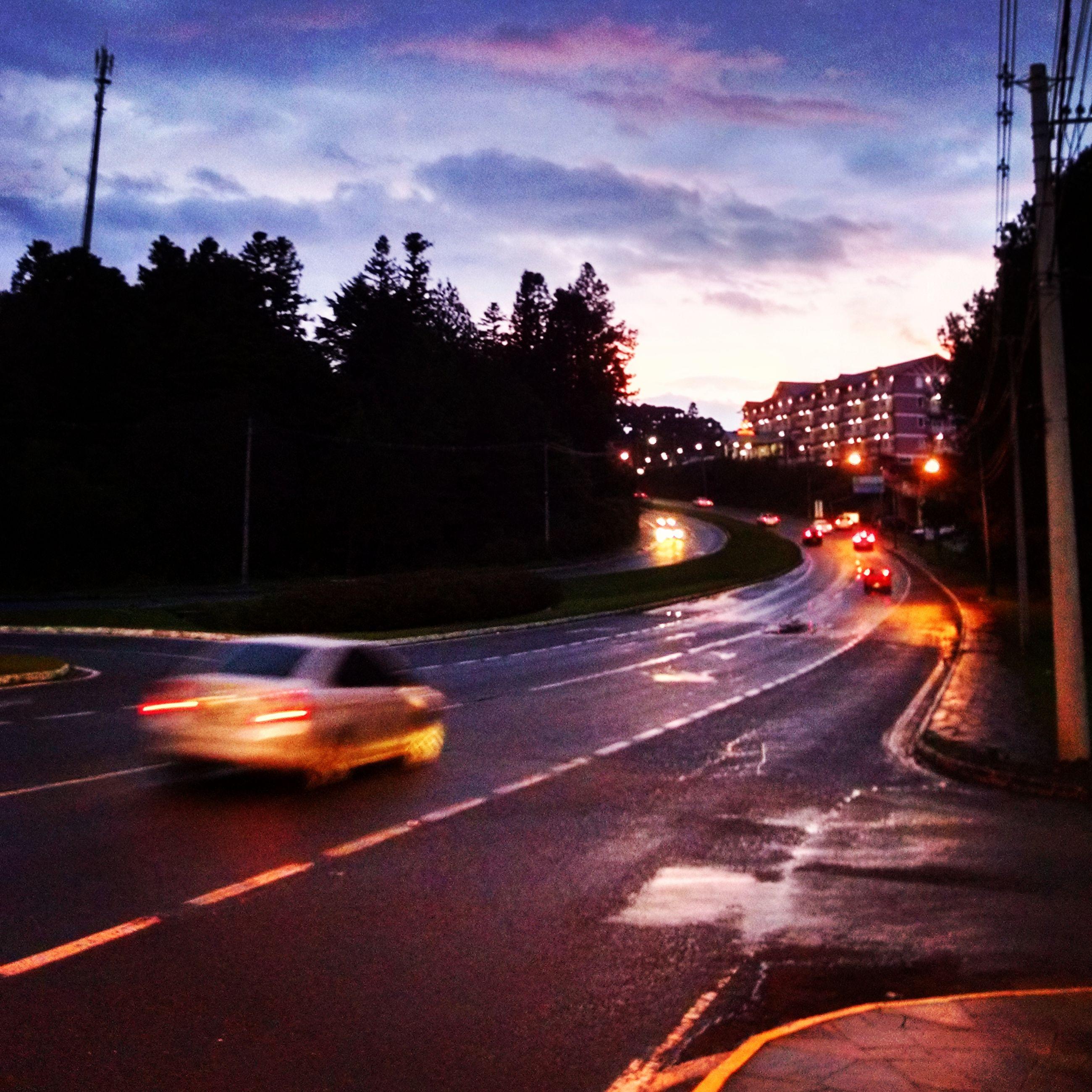 transportation, illuminated, car, road, land vehicle, mode of transport, street, street light, traffic, sky, road marking, the way forward, city, night, on the move, speed, motion, city street, light trail, long exposure