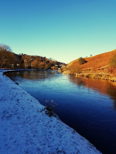 beautiful winters day on Rochdale canal Water Canal Canals And Waterways Canal Water Clear Sky Blue Lake Sky Landscape Snow Covered Snowfall Snow Cold Winter Covering Frozen Weather Condition Season