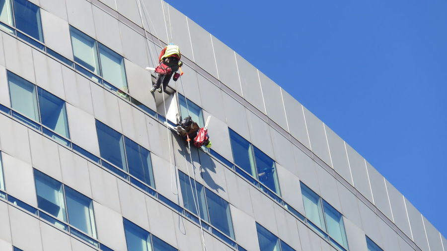 Dizziness Dangerous Work Rope Caution Industrial Dangerous Safety Climb Building Men At Work  Safety Hazard Concept Occupational Safety And Health Window Washer Manual Worker Working Men Occupation Cleaning Skill  Full Length Cleaner Skyscraper Tall - High Safety Harness