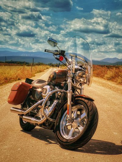 Today is a beautiful day! Back on the road on the way! Nice Sunday to you.... Cloud - Sky A Photo Like A Painting Capture The Moment Landscape Country Road Dramatic Sky Melancholic Landscapes Harleydavidson Harley Davidson Bicycle Trip Countryside Landscape Photography