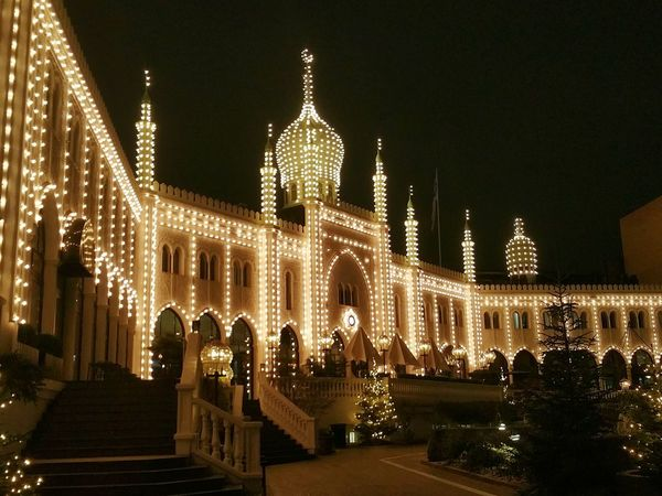 Mobilephotography Copenhagen Tivoli Denmark Tivoli Garden Tivoli Copenhagen Night Illuminated Architecture Christmas Christmas Decoration Celebration Building Exterior Built Structure Christmas Lights No People Outdoors