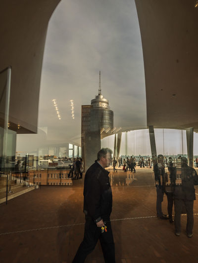 Adult Adults Only Airport Architecture City City Gate Cloud - Sky Day Dome Elbphilharmonie Elbphilharmonie Plaza Elbphilharmony Hamburg Men One Man Only One Person Only Men Outdoors People Politics And Government Real People Sky Standing