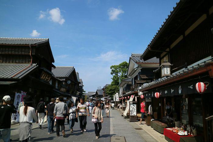 お伊勢参り、おかげ横丁へ。おはらい町通り。 Japan Mie Grand Shrine Of Ise Naiku Street Sunny Day Blue Sky Holiday