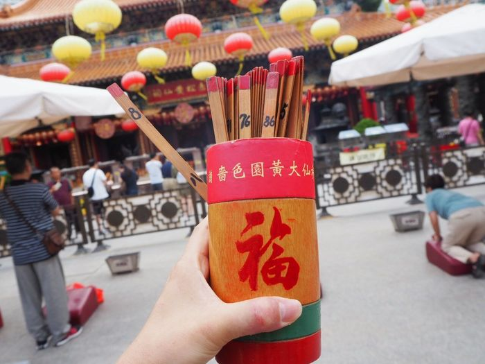 Happy! HongKong ASIA Wish Summer Furtune Telling Temple Hand Real People Human Hand Holding City Chinese Lantern