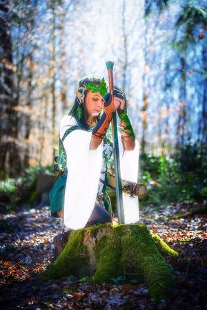 Beauty Forest Women Adult Outdoors People Nature One Person Tree Period Costume Elf Larp Elfinforest Portrait Sword Mastersword Zelda Outtake