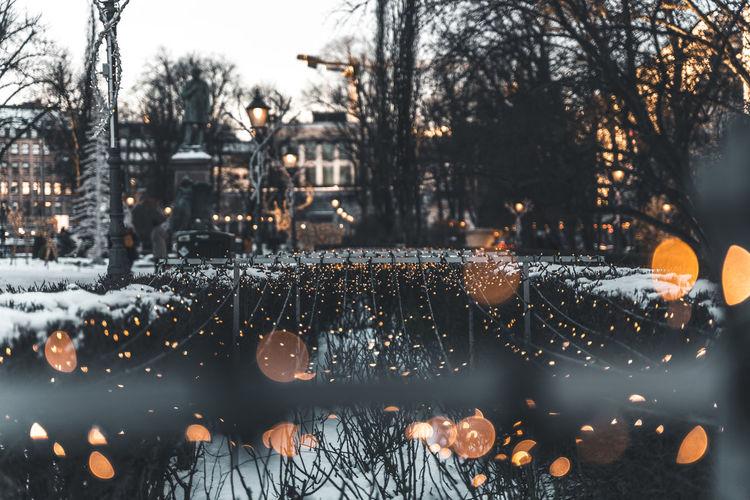 Illuminated city during winter at dusk
