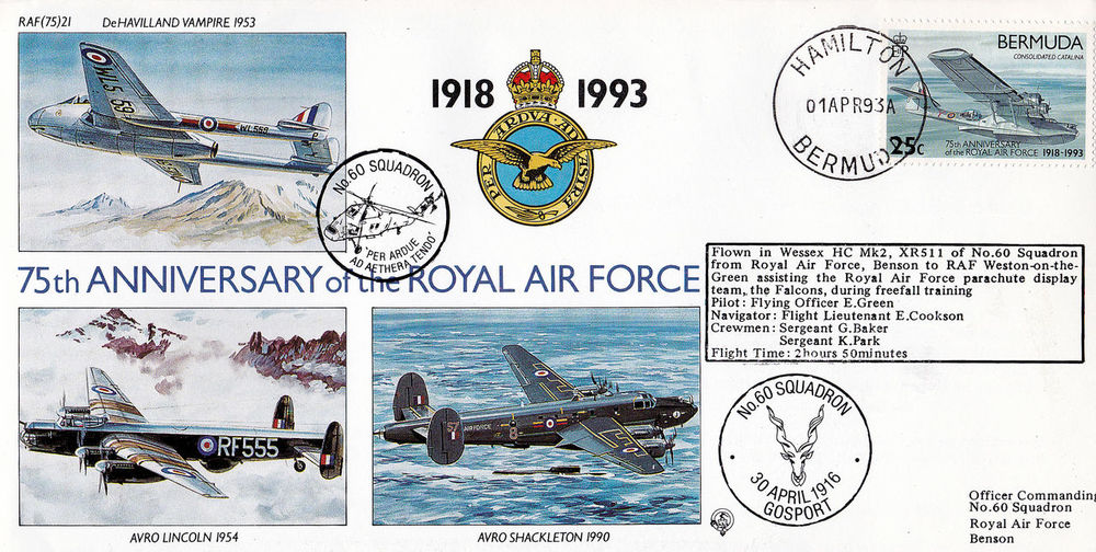 Royal Air Force 75th Anniversary Commemorative Stamps First Day Covers 1918 - 1993 Bermuda Stamps Royal Airforce Base Lincoln Bomber Dehavilland Vampire
