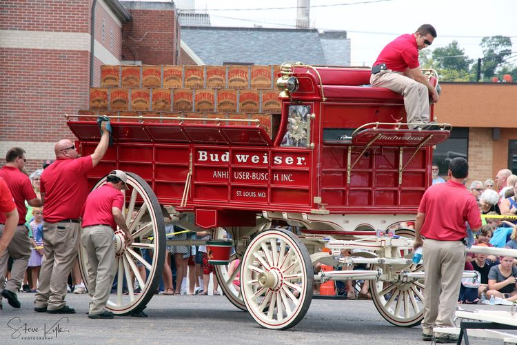 Adult Adults Only Anheuser-Busch Clydesdales Day Differing Abilities Full Length Land Vehicle Men Mode Of Transport Occupation Only Men Outdoors People Real People Red Transportation Wheelchair