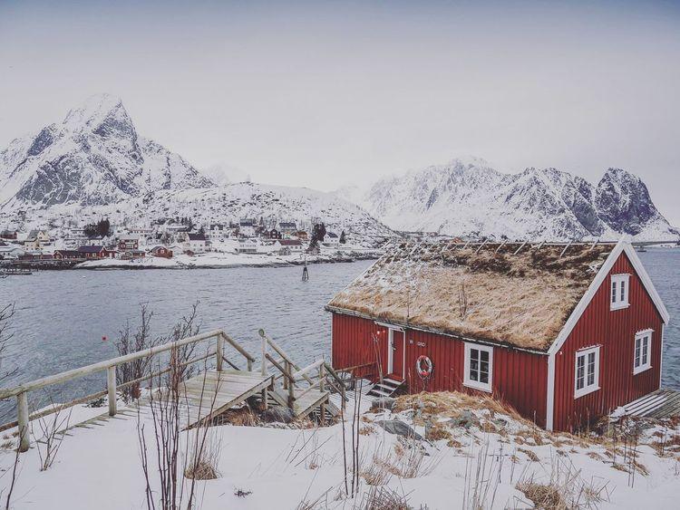 Winter in Norway Norway Norway🇳🇴 Lofoten Lofoten Islands Scandinavia Winterlandscape Redcabin Fisherman Softtones Snowlandscape
