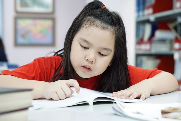 Girl Studying At Table