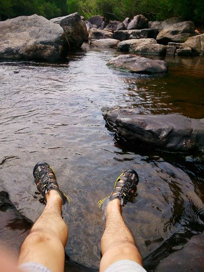 River Legs Shoues Rocks Water Reflections Relaxing Sony Experia Sp