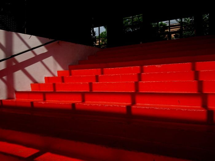 Red Staircase Arts Culture And Entertainment Architecture Indoors  No People Decoration Mobile Photography Interior Design Redstairs Hostel Tbilisi Art Is Everywhere Lights Light And Shadow Wide Angle View Window Light The Architect - 2017 EyeEm Awards My Best Photo