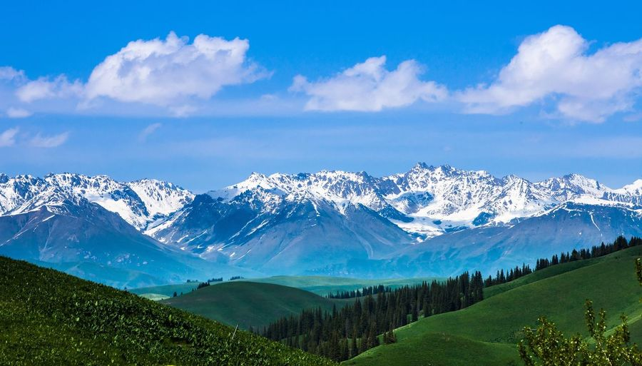 EyeEm Selects Mountain Cloud - Sky Mountain Range Scenics Beauty In Nature Tranquil Scene Landscape Snowcapped Mountain Physical Geography Silkload Karajun Grassland XinJiang China