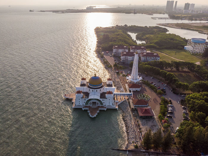Melaka Straits Mosque, Malaysia Water High Angle View Architecture Built Structure Transportation Building Exterior Sea Nature Day No People Mode Of Transportation Travel Outdoors Travel Destinations City Tourism Sunlight Melaka Malacca Malaysia ASIA Mosque Melaka Straits Mosque Drone  Droneshot