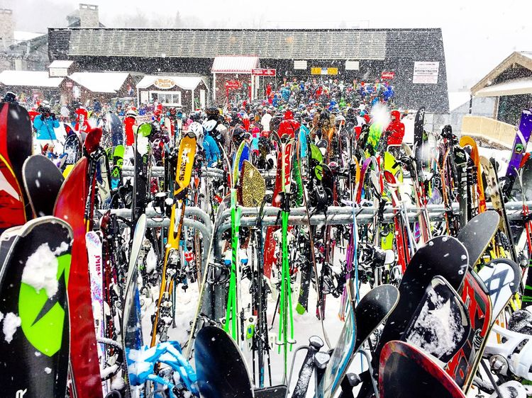 Snow Sports Multi Colored Outdoors Large Group Of People Crowd Vermont Snow Ski Lift Cold Temperature Winter Skiing Strattonmountain  Skis