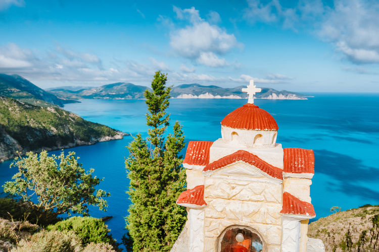 High angle view of church against sea and sky