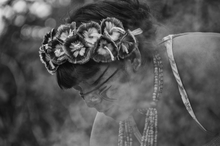 Retratos Guaranis. Indian Indian Culture  Rio Silveira Indian Reservation Aldeia Guarani Black And White Close-up Day Flower Focus On Foreground Guarani Indian Guarani Village Guarani Woman Head And Shoulders Headshot Indigenous Necklace Indigenous Painting Indigenous Reservation Indigenous Woman Lifestyles One Person Portrait Praia De Boraceia Real People Young Adult Young Women