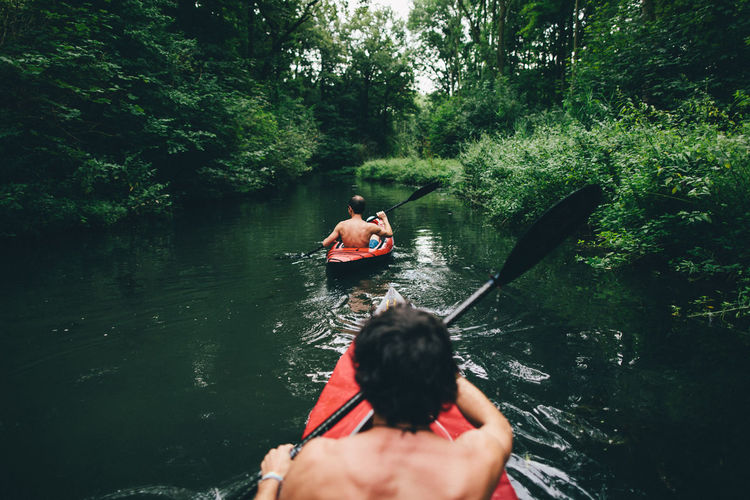 Rear view of shirtless male friends kayaking in river at forest
