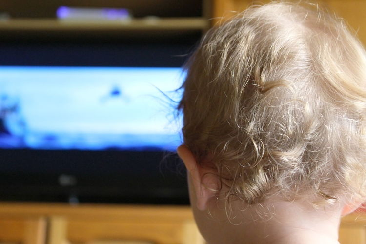 Rear View Of Girl Watching Television At Home