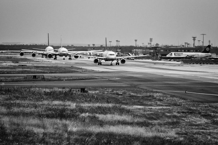 In Line Ready For Liftoff Traffic Waiting Waiting In Line Air Vehicle Airplane Airport Airport Runway Jam Journey Mode Of Transport Transportation