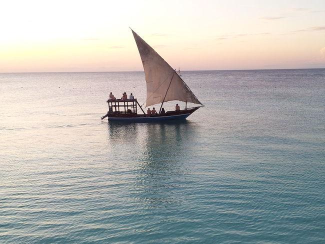 Sunset in Zanzibar Sail Boat Sea And Sky Beautiful Sunset