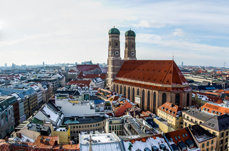 Frauenkirche Frauenkirche Munich München Architecture Building Building Exterior Built Structure City Cityscape Cloud - Sky Crowd Day High Angle View Nature Office Building Exterior Outdoors Place Of Worship Religion Residential District Roof Sky Skyscraper Tall - High Tower Travel Destinations