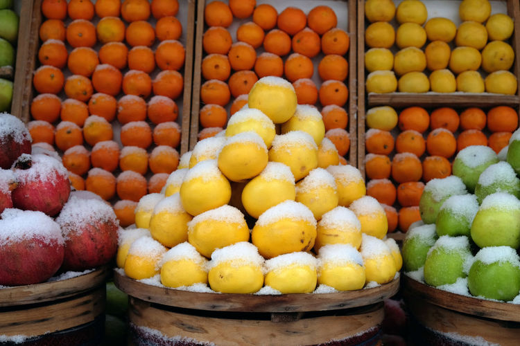 Fruit stall covered with snow in winter 2017 in Istanbul Food Freshness Fruit Fruit Market Fruit Stall Full Frame Healthy Eating Istanbul Winter 2017 Large Group Of Objects Lemons Lemons And Oranges Market Market Stall Orange - Fruit Orange Color Winter Winter Weather In Istanbul Wintertime
