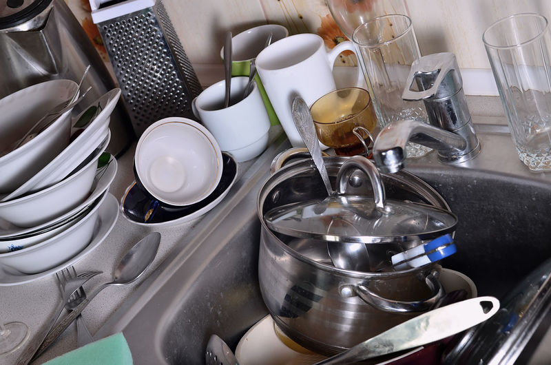Close-up of kitchen utensil in sink at home