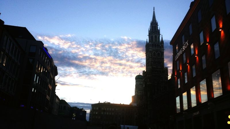 Munich, Germany Marienplatz City The Evening Sky When The Sun Goes Down..♥