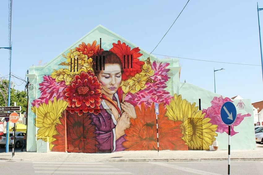 When Art meets the small city UrbanART Urbanarts Art ArtWork Flowers Woman Woman Portrait Montijo Portugal Photoshoot Photography Photooftheday Photographylovers Urban Landscape Urbanexploration Canon Canonphotography Adapted To The City Art Is Everywhere