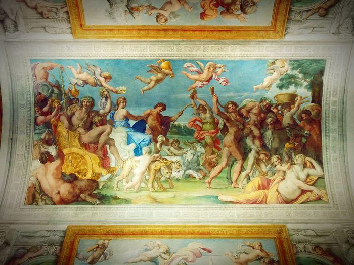 """Roma, Palazzo Farnese. Annibale Carracci, """"Trionfo di Bacco e Arianna"""" Roma Colori Arte Palazzofarnese Carracci Annibale Affresco Volta Bacco Arianna Arts Rome Rome Italy"""