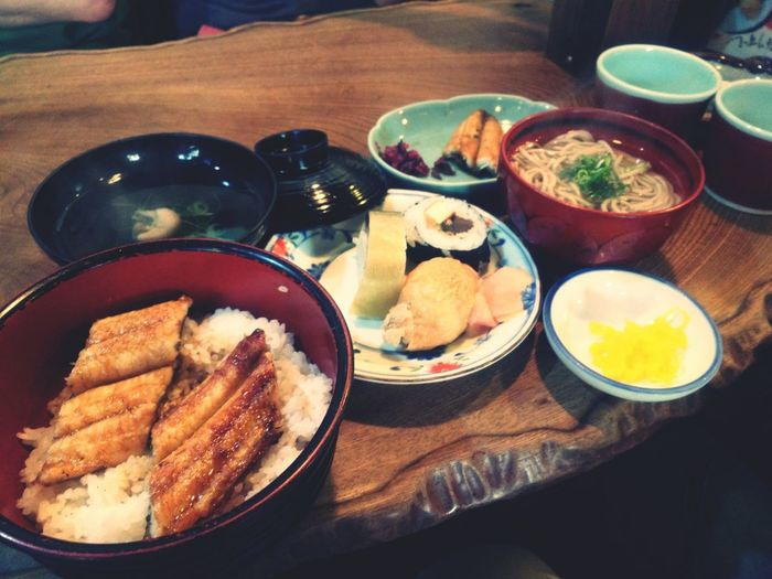 Traditional Japanese Food Served On Table