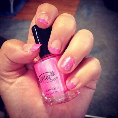Pink!? Nails Frenchtips Sparkles Accentnail lovee obsessed