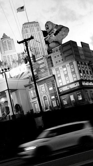 King Kong Gorilla Building Vacation Street View Car Blurred Motion Black&white Black And White Photography Gaitlynburg