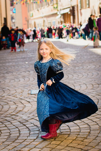 Carnival Happy Princess Tradition Blond Hair Costume Day Focus On Foreground Full Length Germany Girl Happiness Leisure Activity Looking At Camera One Person Outdoors Portrait Real People Smiling