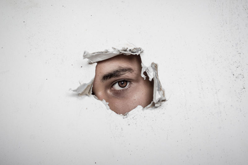 Portrait of man with hole