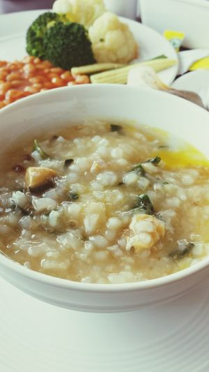 My last day in Vietnam enjoying breakfast Preserved Egg Seaweed Congee Vegan