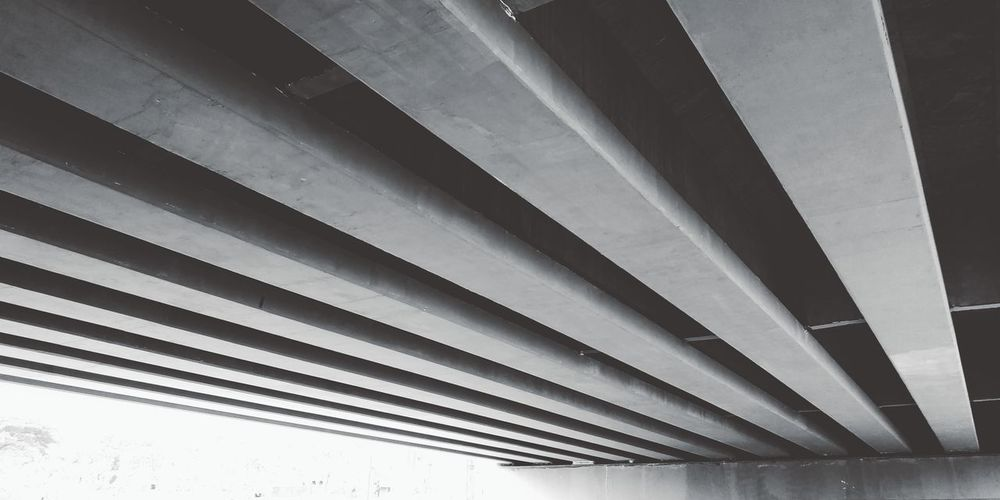Construction under the bridge Bridge Arsitektur View Pattern Architecture Built Structure Corrugated Iron Architectural Design Architectural Detail Architectural Feature Skylight Sheet Metal Iron - Metal Shutter Underneath Corrugated Architecture And Art Roof Beam LINE