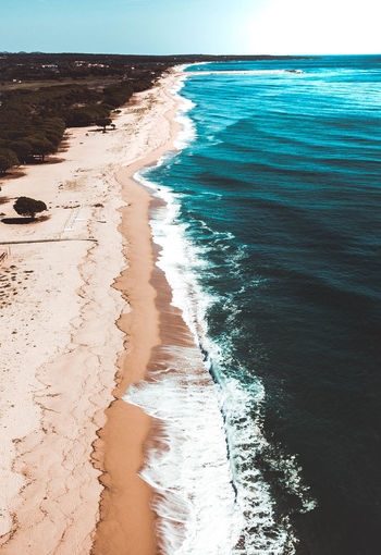 SEA, SUN Sea Water Land Beach Motion Aquatic Sport Wave Scenics - Nature Surfing Sport Beauty In Nature Sand Horizon Tranquil Scene Tranquility Horizon Over Water Nature Day Outdoors Sun Beauty In Nature Above Drone  Wave