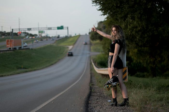 Urban Lifestyle Going The Distance Hitchhiking Highway Roller Skates