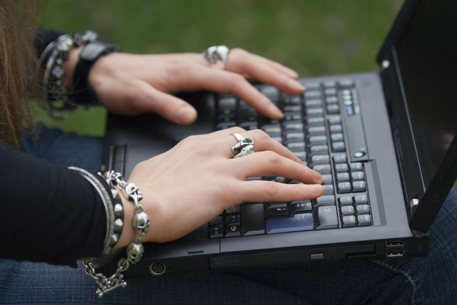 Female Hands typing on Laptop - close-up Communication Female Gothic Style Hand Hands Human Body Part Human Hand Internet Internet Addiction Jewelry Laptop Learning Lifestyles Notebook Occupation One Woman Only One Young Woman Only Outdoors Technology ThinkPad Typing Using Laptop Wireless Technology Working Young Women